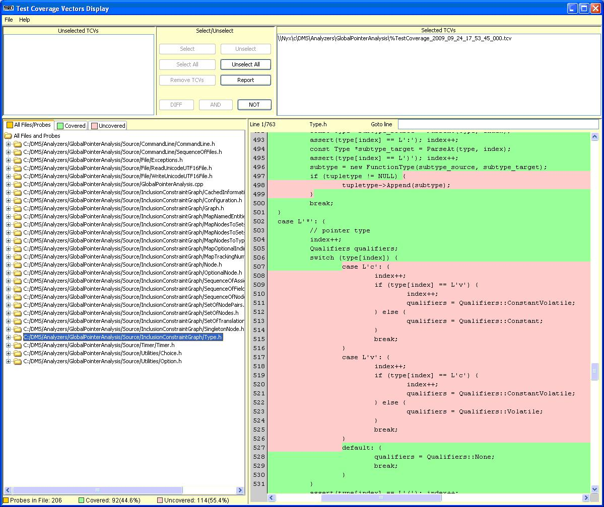 C++ Test Coverage Display screen shot